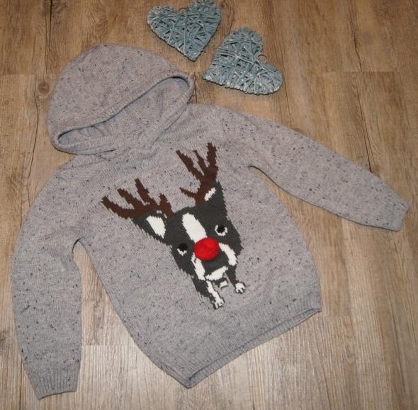 Sweter sweterek Renifer Buldog 3 D Święta Rebel rozm 116