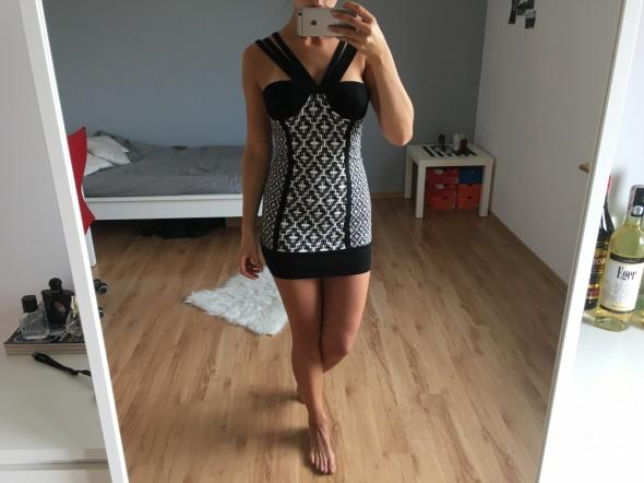 Czarno biała sukienka H&M fashion against aids 36 z metkami