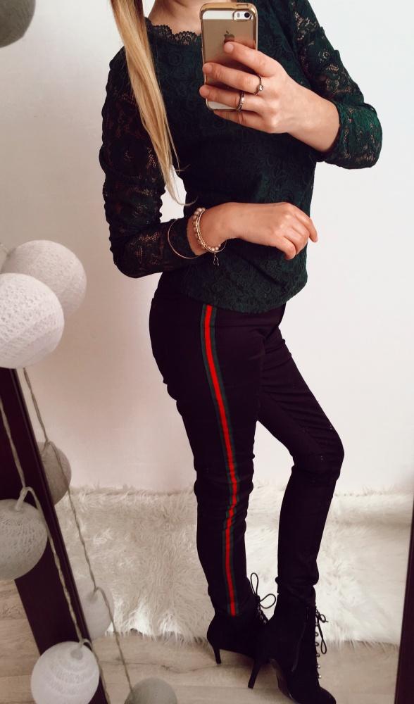 Czarne spodnie Damskie strecz Lampas M