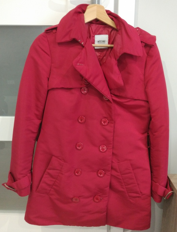 Czerwony bordowy płaszcz kurtka bardzo ciepły