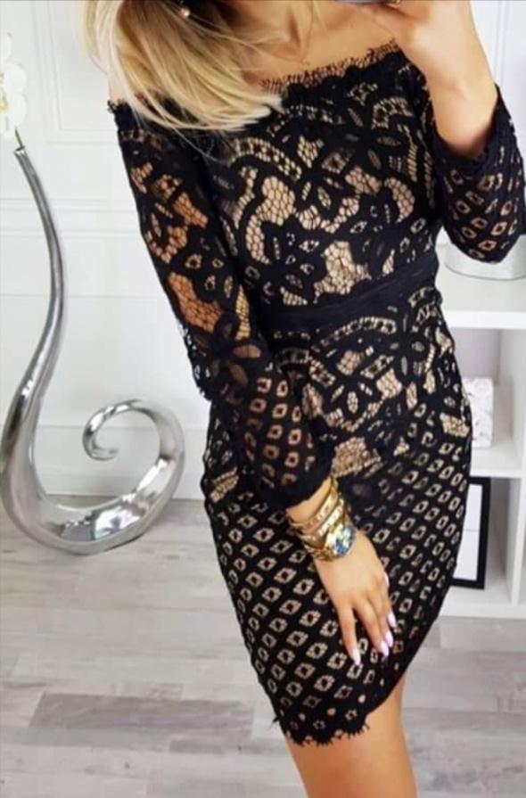 Sukienka mini czarna kremowa tuba hiszpanka koronka