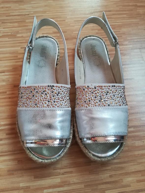Espadryle sandały srebrne rozm 40