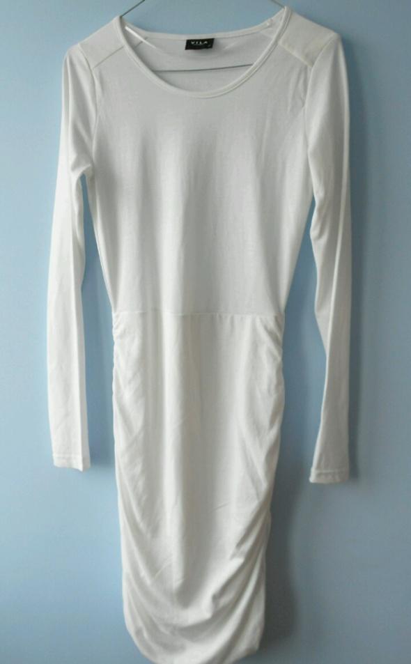 Vila nowa sukienka bodycon dopasowana złamana biel długi rękaw asos