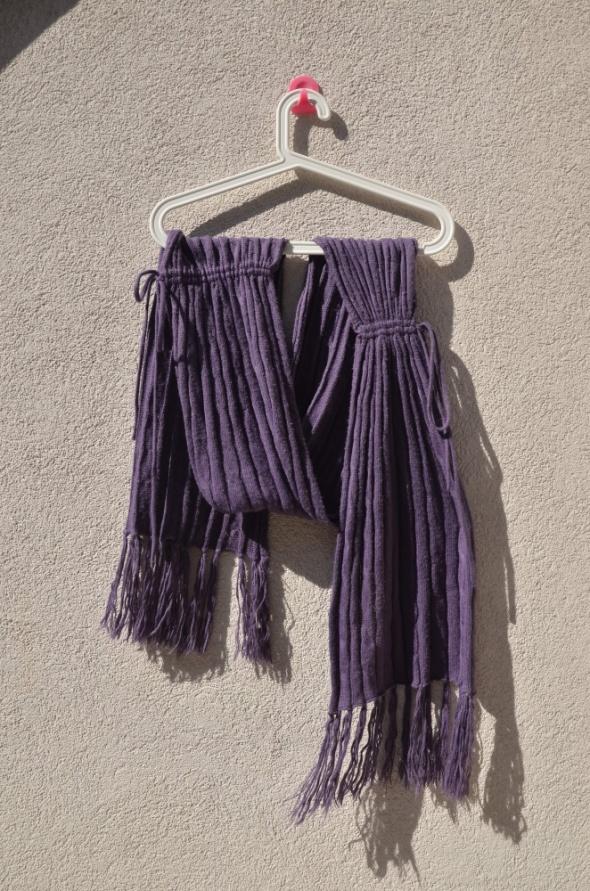 HOUSE fioletowy długi szal warkocze ściągacze