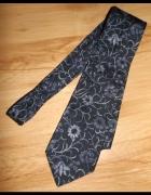 Jedwabny włoski krawat w kwiaty...