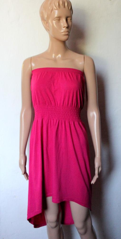 Sukienka bez ramiączek w kolorze fuksji asymetryczna r S...