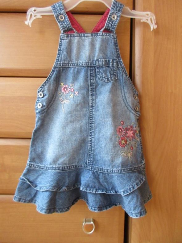 Sukienka jeansowa hafty falbanki roz 98