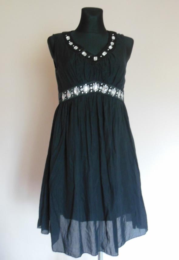 Miso czarna zwiewna sukienka z koralikami 38 40...