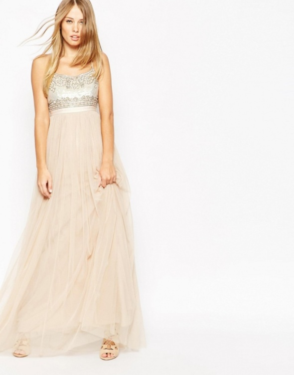 Asos weeding pudrowa sukienka maxi na wesele w Suknie i