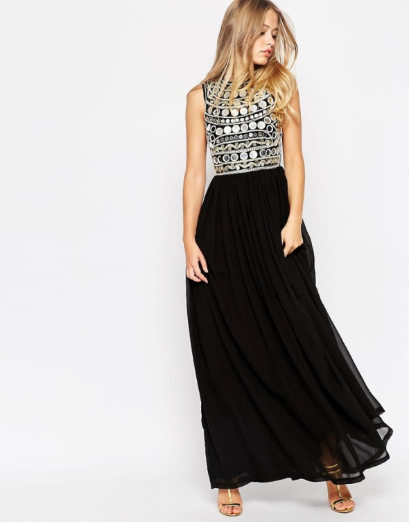 Asos maxi czarna sukienka zdobiona esmeralda