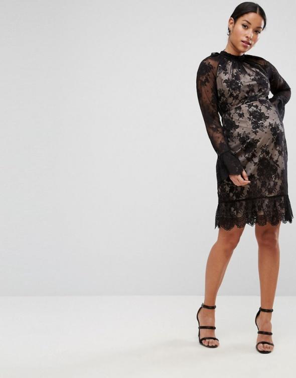 Asos maternity ciążowa sukienka koronkowa nude koronka
