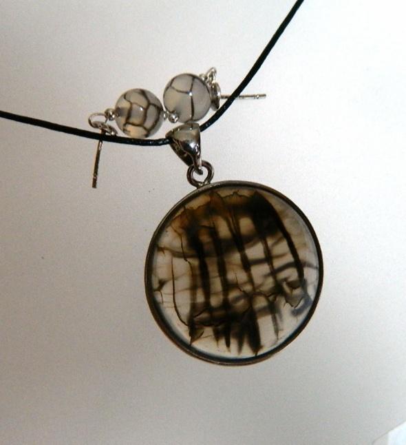 Szary agat pajęczy wisiorek i kolczyki zestaw w srebrze