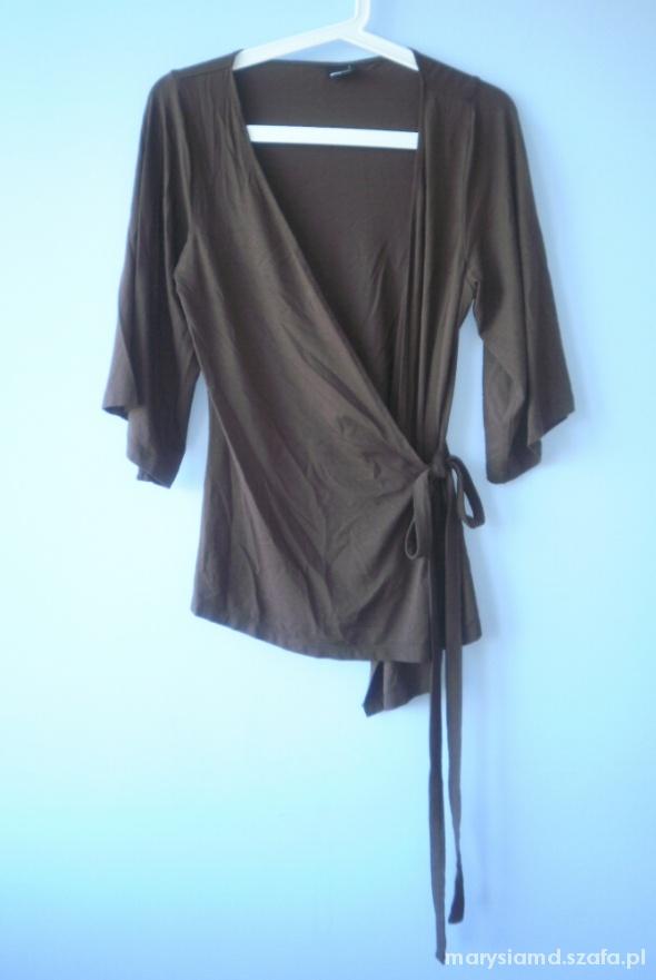 Gina Tricot brązowe asymetryczne kimono narzutka...