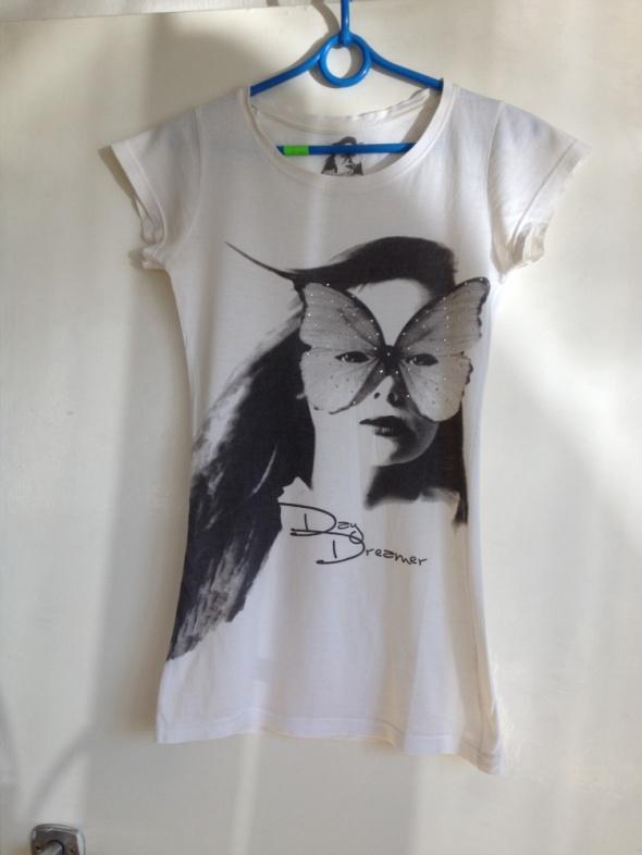 Koszulka nadruk kobieta dżety szary biała XS S 34