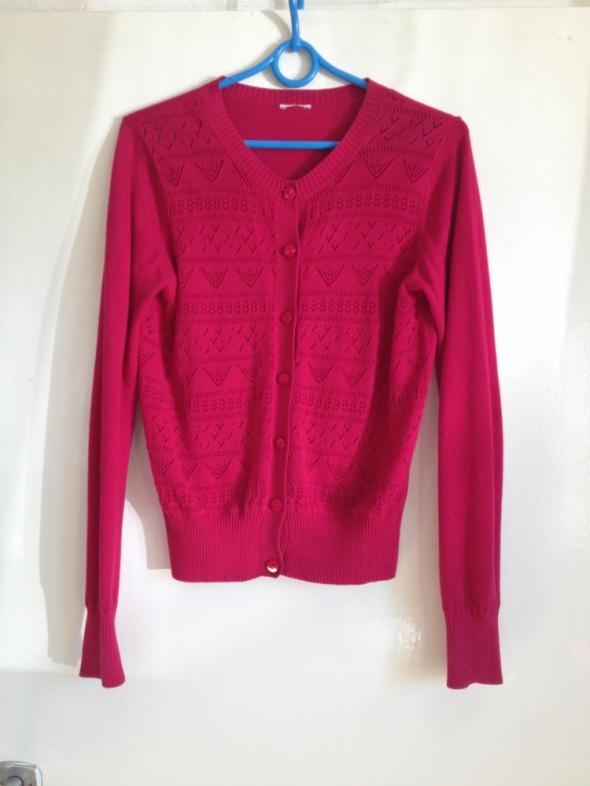 Malinowy sweter kardigan XS S M 34 36 38 ściągacz