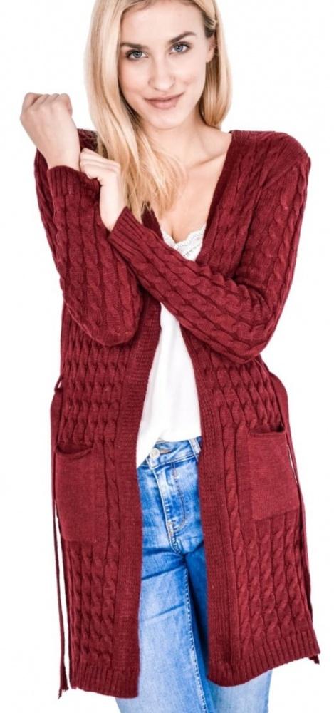 Długi sweter kardigan narzutka kieszenie kolor bordowy...