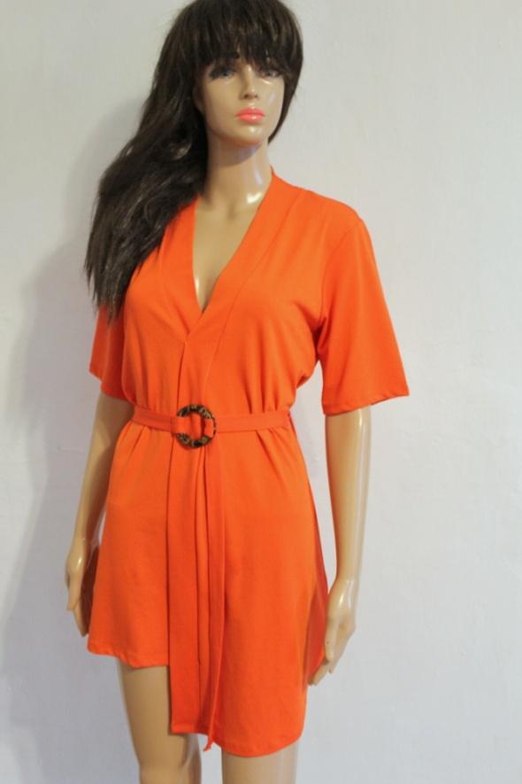 Pomarańczowa asymetryczna sukienka z paseczkiem r XS...