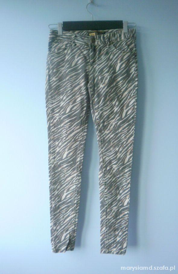 nowe New Look zebra print jeansy rurki animal