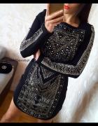 Nowa sukienka mała czarna ZŁOTE dżety jak Balmain...