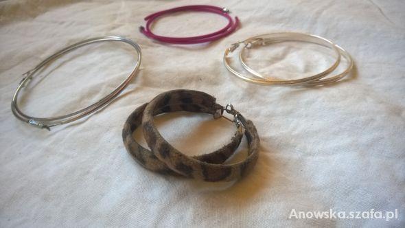 Nowe kolczyki koła srebrne różowe i w cętki...