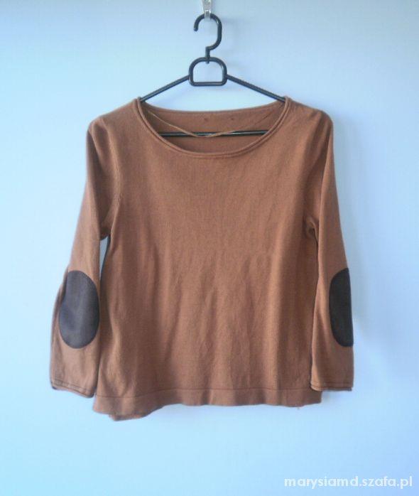 H&M sweter brązowy łaty