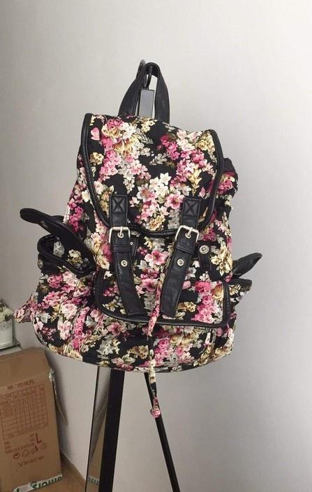 plecak w kwiaty z kieszeniami worek szkolny
