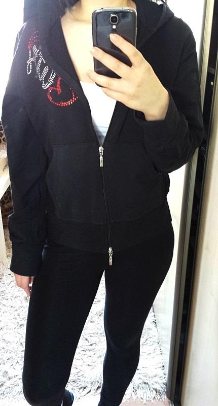 Nowa czarna bluza cyrkonie zipy kangurka