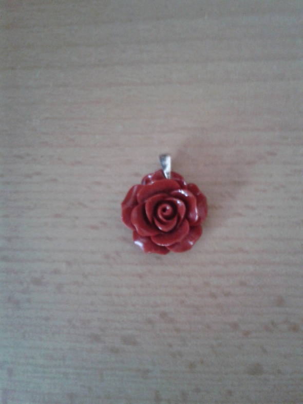 Wisiorek zawieszka róża z korala czerwona 25cm srebro z próbą nowa