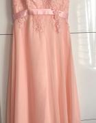 Sukienka Maxi pudrowy róż koronka...
