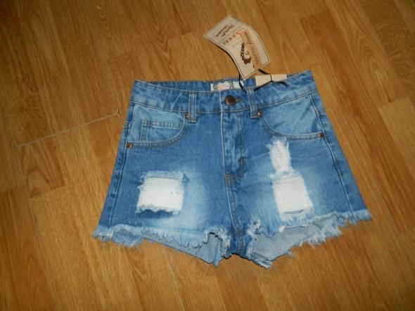 BOOHOO jeansowe szorty dziury roz 34
