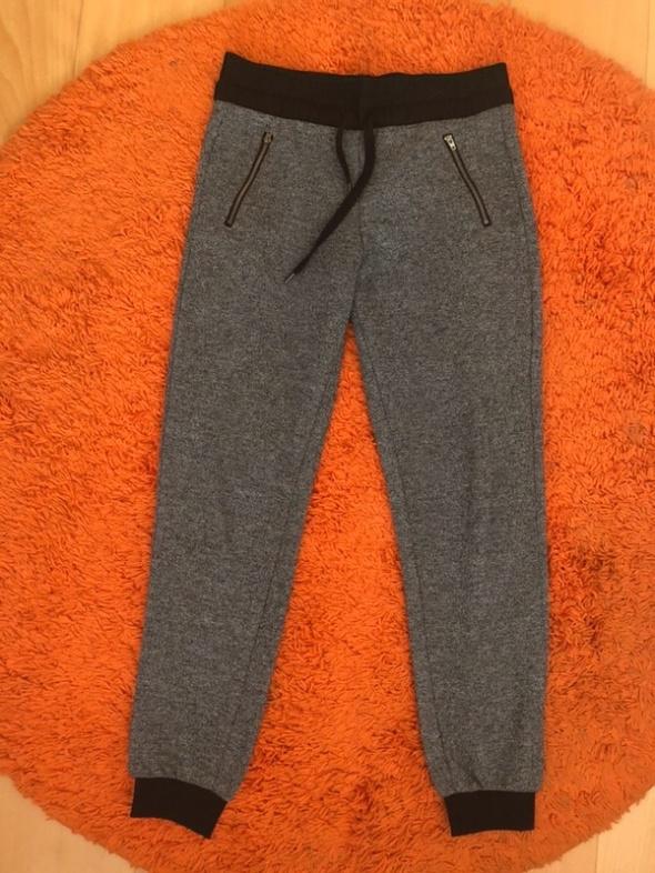 szare melanżowe spodnie dresowe szeroki Pas M 38