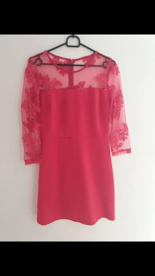 czerwona sukienka siateczka
