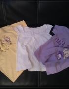 zestaw koszulek bluzek 116 biała żółta fioletowa...