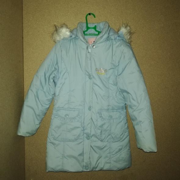 Jasnoniebieskia zimowa kurtka płaszczyk 116 cm 6 7 lat