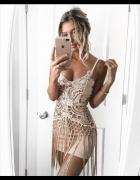 Sukienka Tassel cekinowy wzór frędzle mini od S do XL