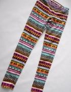 H&M aztec spodnie wzorki rurki skinny 38