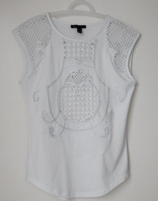 Mango biała bluzka haft etno boho