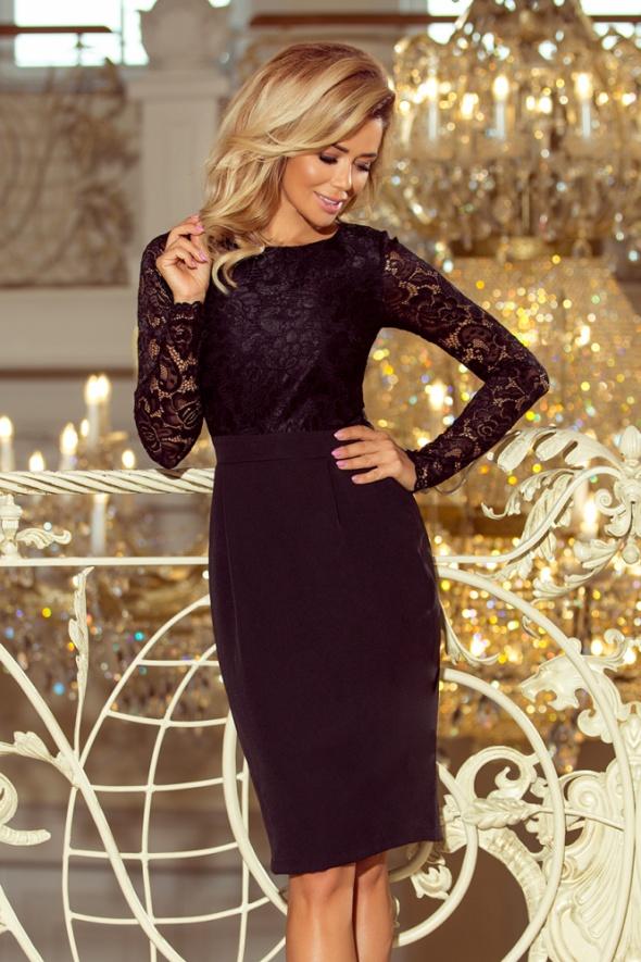 e32bb25bf3e2 Suknie i sukienki Czarna ołówkowa sukienka midi koronkowa góra długi rękaw  L 40