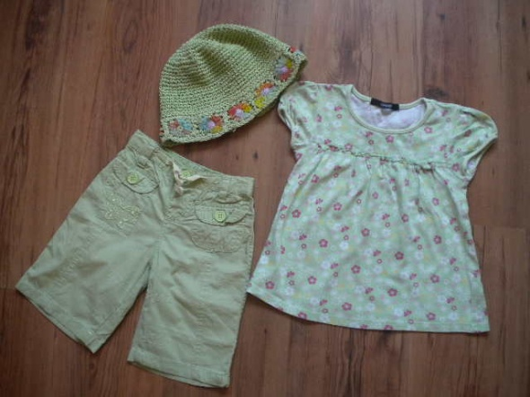 Komplety zestaw spodenki bluzka kapelusz rozmiar 98 104