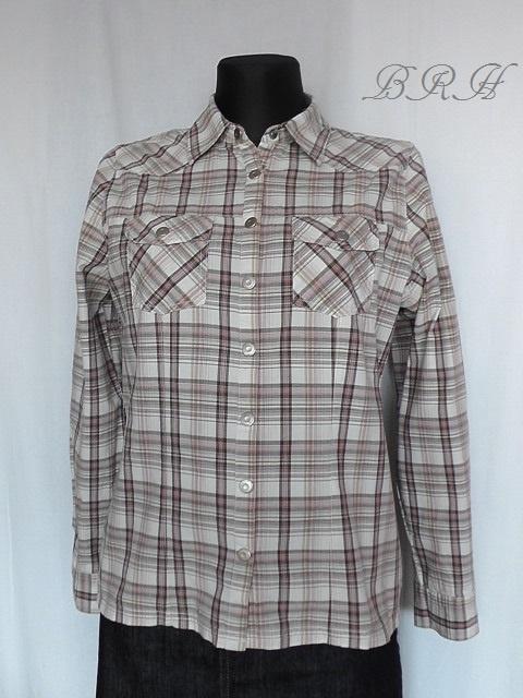 Koszule koszula w kratę biało brązowa