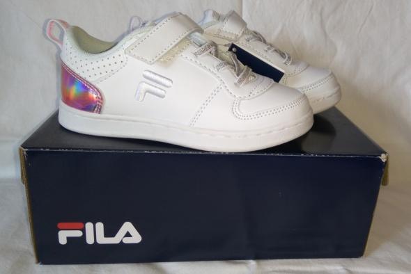 Nowe białe dziewczęce adidasy Fila zapinane na rzepy różowy tył 28