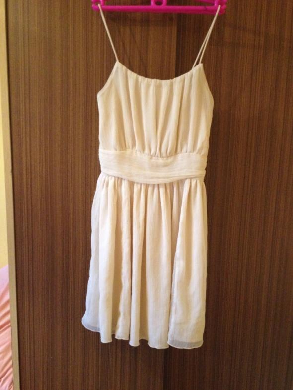 Waniliowa sukienka XS S M 34 36 38 szelki luźny kr...