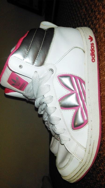 Buty biało różowe za kostkę Adidas
