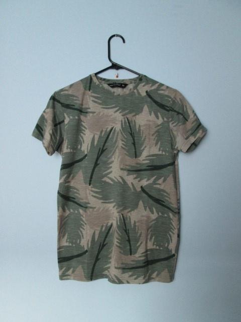Jesienna koszulka w zielone liście koszulka moro...