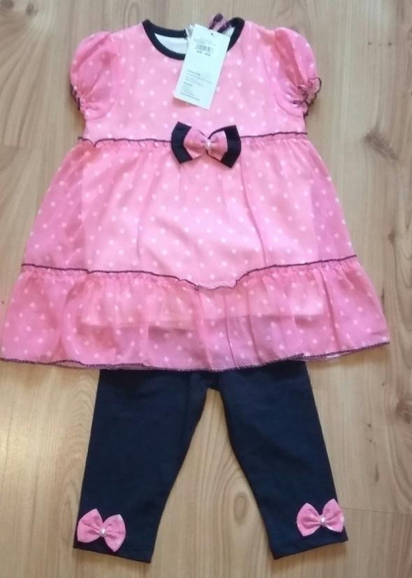 Nowy komplet sukienki różowa i getry z kokardakami 104
