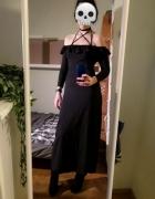 Czarna sukienka maksi maxi elegancka hiszpanka off the shoulder...