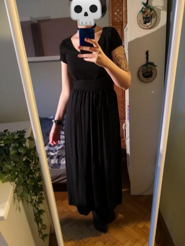 Czarna spódnica linia A maksi siedem ósmych do kostki high waist z podwyższonym stanem letnia goth pasek na gumkę
