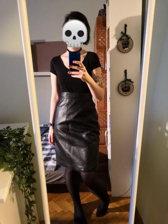 Skórzana ołówkowa spódnica z wysokim stanem prawdziwa skóra high waist goth gotycka gotyk