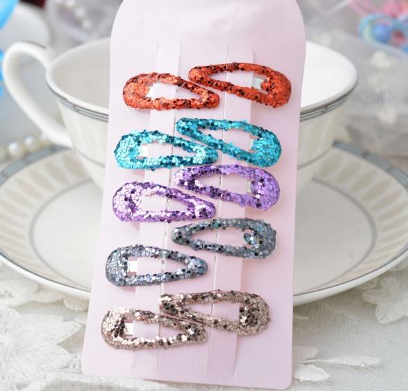 Kolorowe spinki wsuwki do włosów 10 sztuk z cekinami brokatem rysunkami