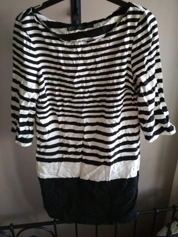 Sukienka ZARA XS czarna biała paski...